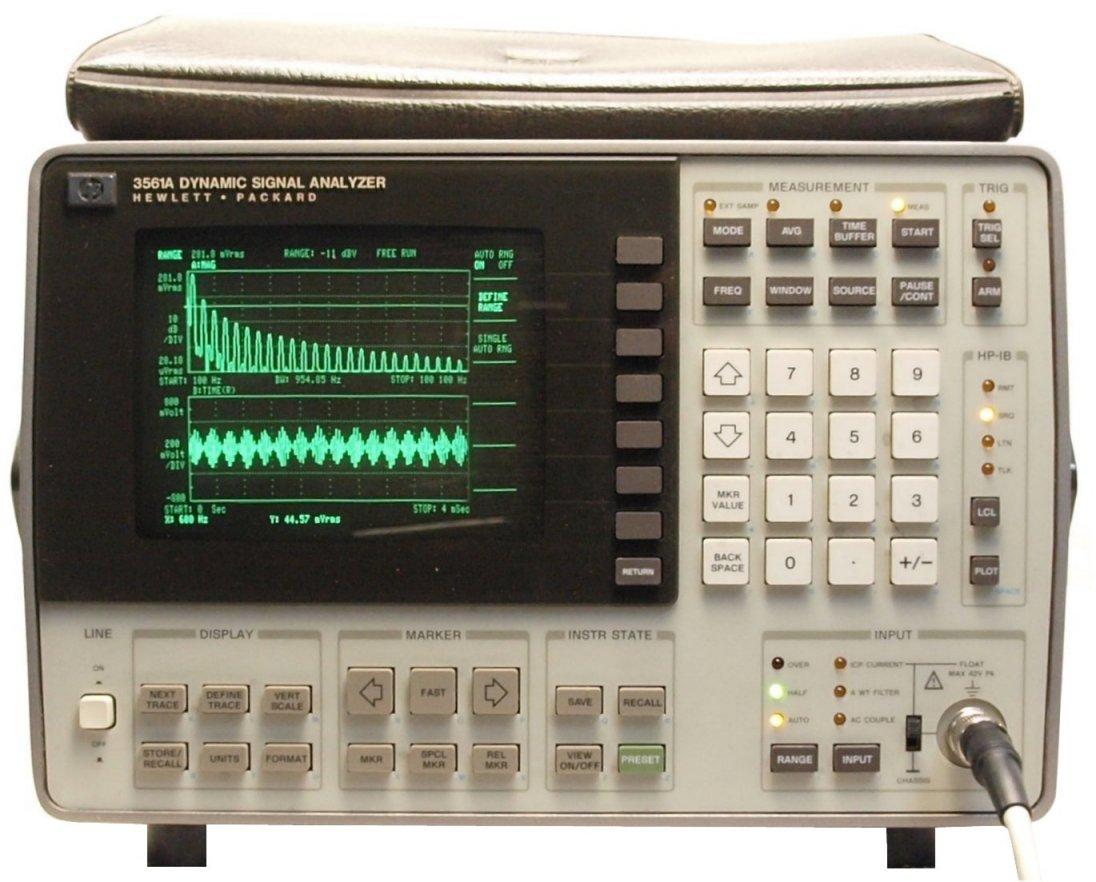 Hp / agilent 3560a portable dynamic signal analyzer operating.